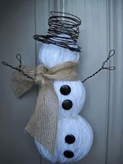 Snowman made with wool