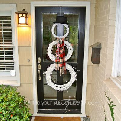 Snowman made with wreaths