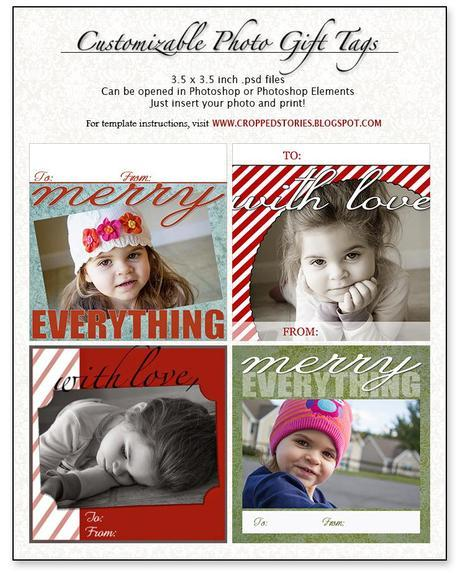 Customizable Photo Holiday Gift Tags via Cropped Stories