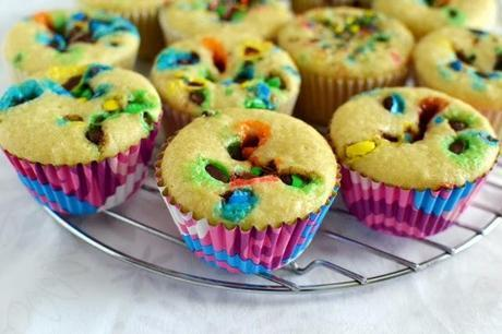 Confetti Candy (aka M&M) Cupcakes with Fudge Frosting (Eggless Recipe)