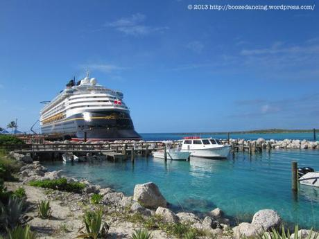The Disney Magic docked at beautiful Castaway Cay in the Bahamas