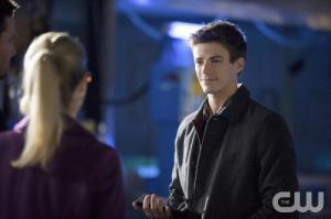 Grant Gustin as Barry Allen in a forthcoming episode of Arrow.