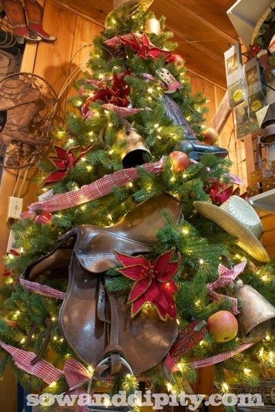 Why yes, that is a saddle in a Christmas tree. From the creative genius of Shelley Levis.