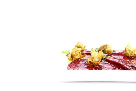 Beet Carpaccio with Deep Fried Capers & Arugula #144 - Paperblog