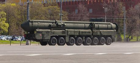 A Topol-M intercontinental ballistic missiles mobile launcher during VE-Day parade in Moscow, May 9, 2013.