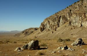 Great Basin landscape swept by fires spread by invasive plants.