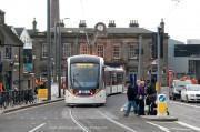 Edinburgh trams being tested at Haymarket station