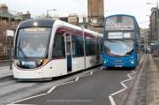 Edinburgh trams being tested on Shandwick Place