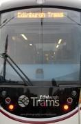 Looking into the front of an Edimburgh tram