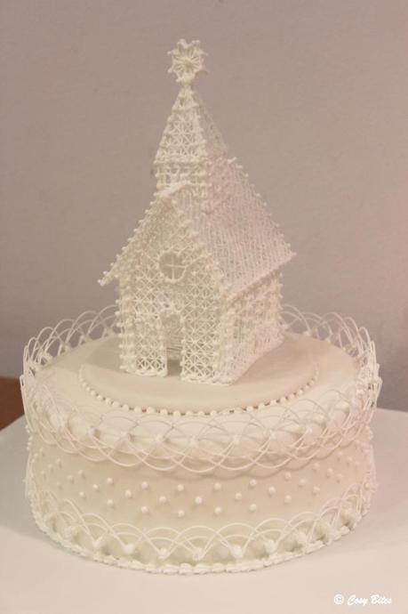 Royal Icing Church and Oriental String Work-Completed Cake