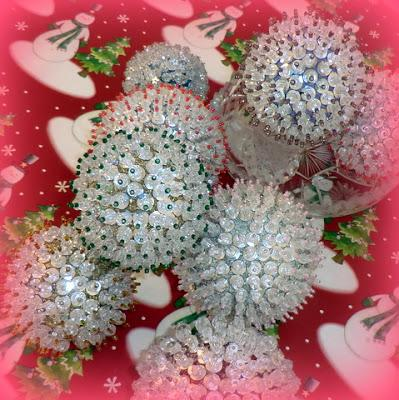 Sequins and Seed Beads and Styrofoam Ornaments