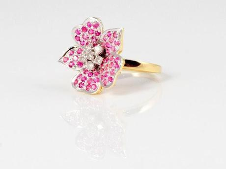 Sonal's Bijoux - Ring Made of White and Pink Crystals