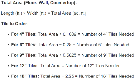 How to calculate floor area for tiles