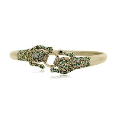 14kt Yellow Gold Pave Set Diamond and Emerald Panther Cuff Bracelet