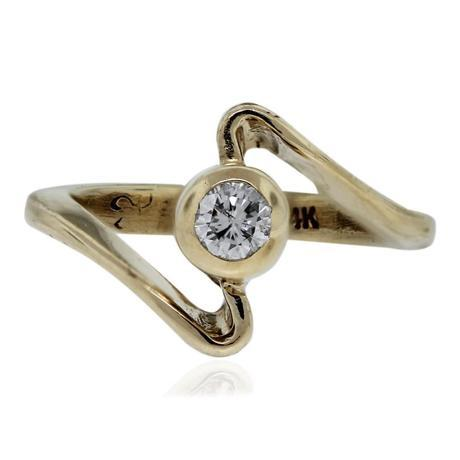 14k Yellow Gold Curved Bypass Diamond Ring