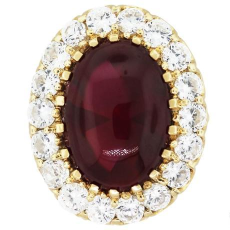 14k Yellow Gold Ring with Red Crystal Cabochon and Cubic Zirconia