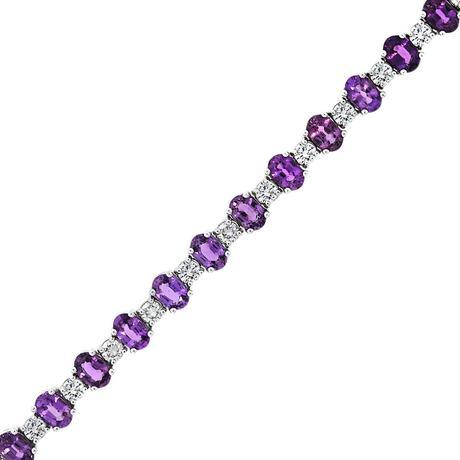 Purple sapphire and diamond bracelet
