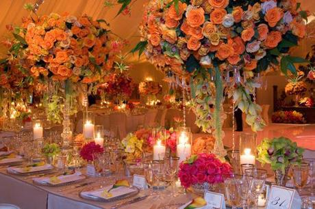 Orange Marquee Curtains And Wedding Decorations