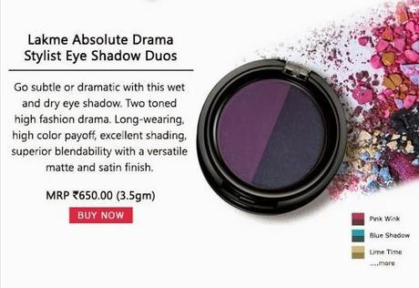 Buy Lakme Absolute Drama Stylist Eyeshadow Duos