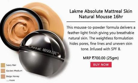 Buy Lakme Absolute Mattreal Skin Natural Mousse 16Hr