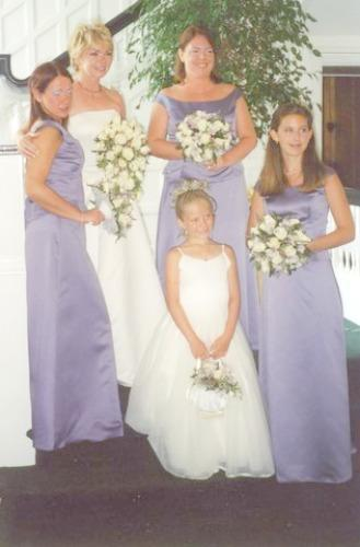 wedding party with lavendar bridesmaid gowns