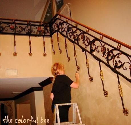 custom finish on a custom wrought iron staircase
