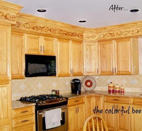 how to alter kitchen soffits with faux woodgraining