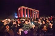 Crowds watching the fireworks on Calton Hill