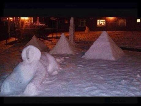 snow pyramid and sphynx egypt