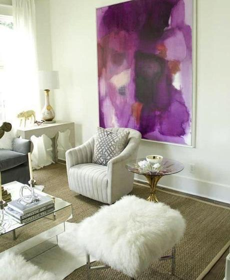 Radiant Orchid artwork in a neutral room