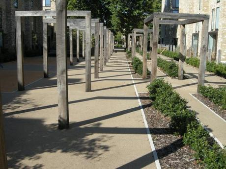 Accordia Cambridge Residential Development - Local Park with Trellis Structures