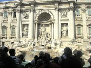 Tourists at the Trevi Fountain