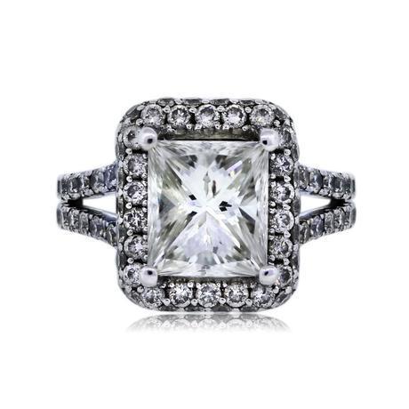 White Gold 2.42ct Radiant Cut Halo Set Engagement Ring