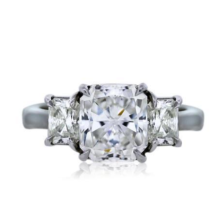 Platinum GIA Certified 3.03ct Radiant Cut Three Stone Engagement Ring