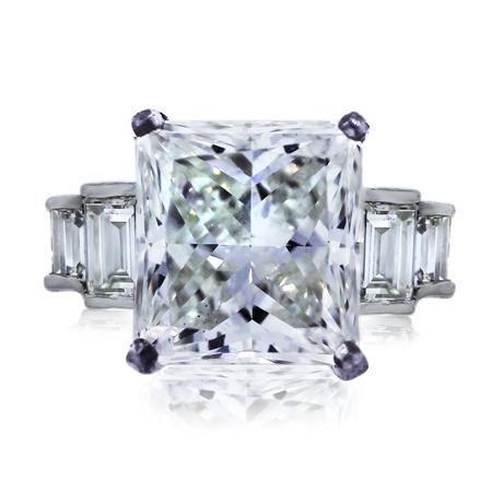 Platinum 6.05ct Radiant Cut Diamond Engagement Ring