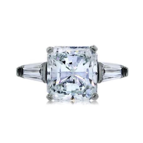 Platinum GIA Certified 3ct Radiant Cut Diamond Engagement Ring