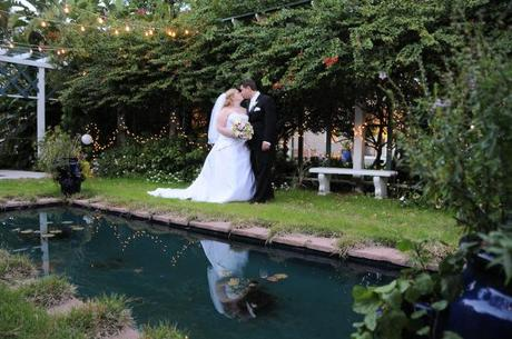 Groom and bride in garden