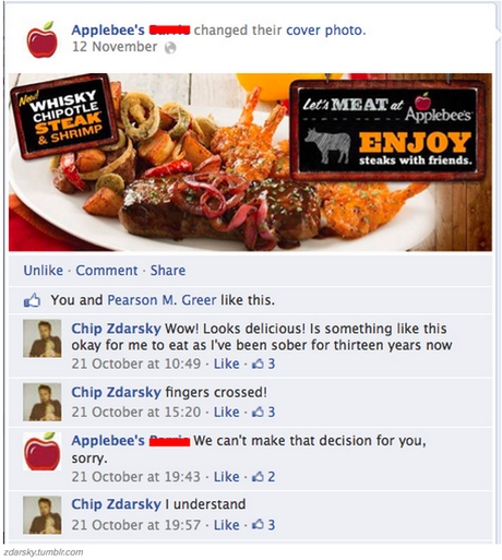 Chris Zdarksy just keeps on messing with Applebee's.