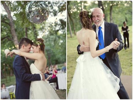 Collage of bride dancing with groom then with father