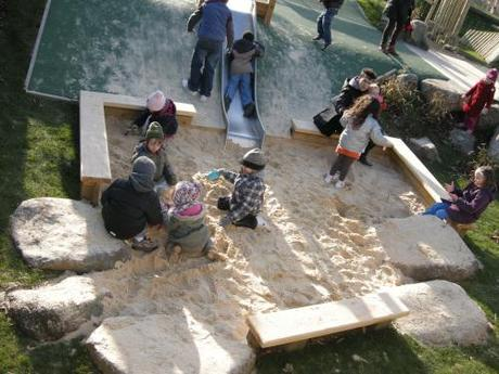 Chumleigh Gardens Under 5's Playground, London - Sand Pit with Informal Seating