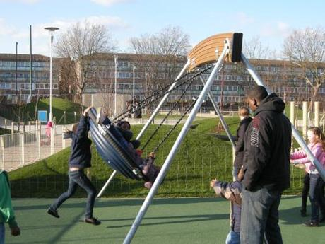 Chumleigh Gardens Under 5's Playground, London - Multiple Child Swing Encouraging Interaction