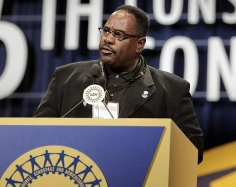 UAW Vice President General Holiefield speaks during the 35th UAW Constitutional Convention held at Cobo Center in Detroit in 2010. A misdemeanor charge was announced Friday against him in the accidental shooting of his wife.