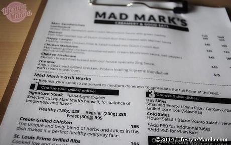 Mad Mark's Glorietta 5 Menu Price list as of January 2014