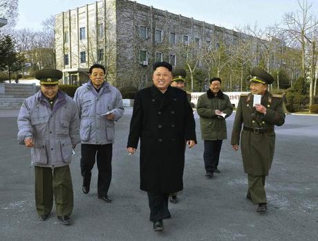 Kim Jong Un inspects the command element of KPA Unit #534.  Also seen in attendance are Director of the KPA General Political Department VMar Choe Ryong Hae (L), KWP Organization Guidance Department Senior Deputy Director Kim Kyong Ok (2nd L) and KWP Organization Guidance Department Deputy Director Hwang Pyong So (2nd R) (Photo: Rodong Sinmun).