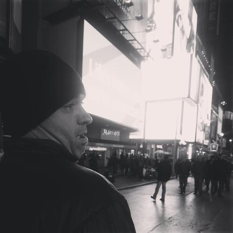 Daniel being silly in Times Square
