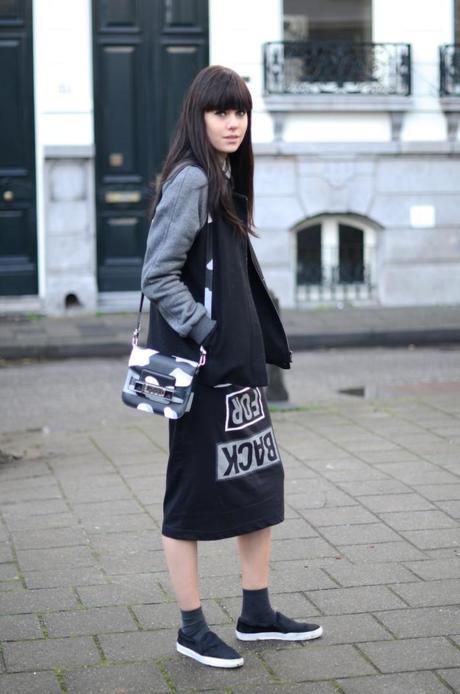 look selected gray sleeve black bomber jacket