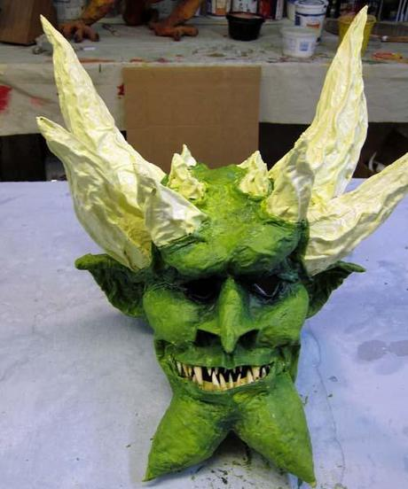 Paper mache green mask final paperblog for Finishing paper mache