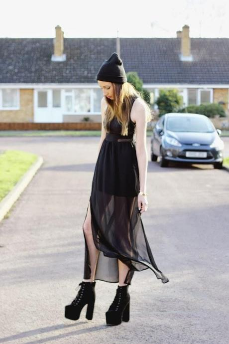 how to style a black chiffon maxi dress