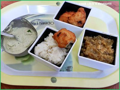 South Indian breakfast platter-Ven pongal and medhu vadai