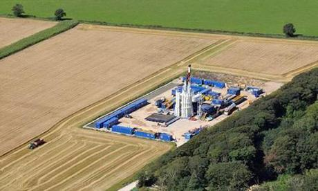 According to a government-commissioned report, the government is planning to permit as many as 2,800 wells to be drilled. Cuadrilla fracking site in the Bowland Basin near Blackpool, England.